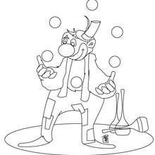 Desenho de um palhaço fazendo malabarismo para colorir