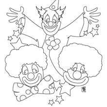 Desenho de três palhaços para colorir