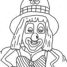 Desenho de um Palhaço com nariz vermelho para colorir