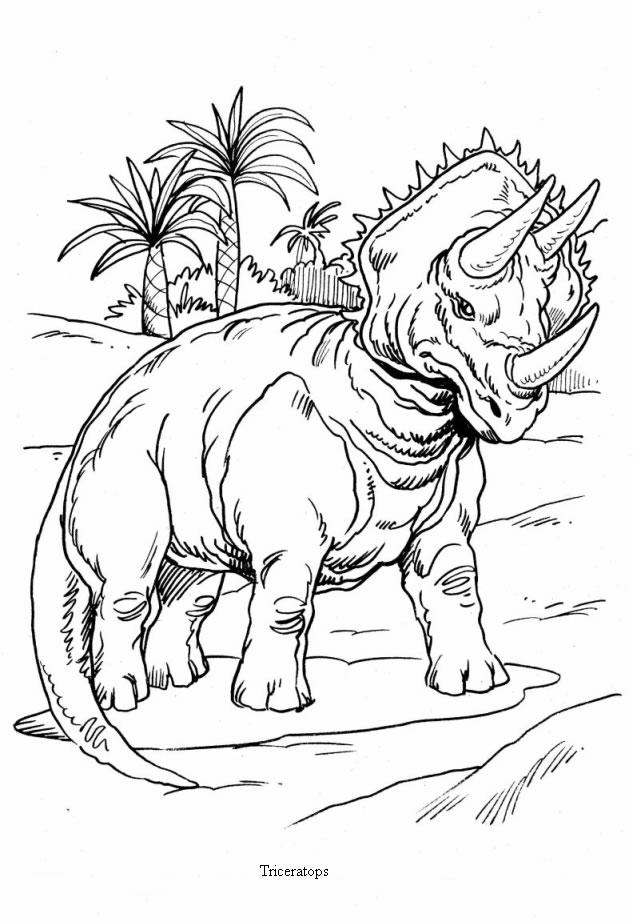 coloring pages dinosaurs online fighting | Desenhos para colorir de desenho de um tricerátopo com ...