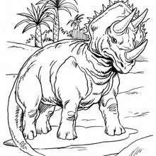 Desenho de um Tricerátopo com palmeiras para colorir