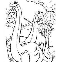 Desenho de um casal dinossauro para colorir