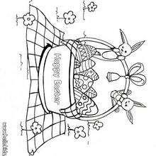Desenho de uma cesta de páscoa cheia de ovos para colorir