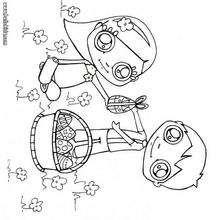 Desenho de crianças com cesta de páscoa para colorir