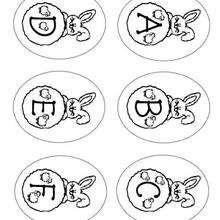 Letras do alfabeto do coelhinho da páscoa  : A B C D E F