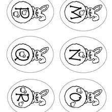 Letras do alfabeto do coelhinho da páscoa : M N O P Q R