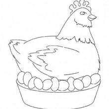 Desenho de uma Galinha da Páscoa para colorir