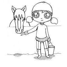 Desenho de uma menina com o seu cavalo para colorir