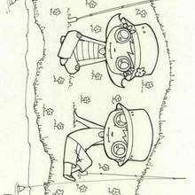 Desenho de um casal pescador para colorir