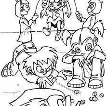 Desenho de crianças brincando para colorir