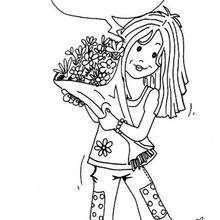 Desenho de uma menina para colorir
