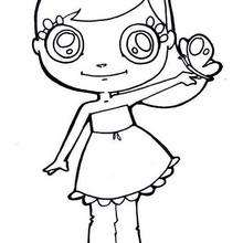 Desenho de uma menina com uma borboleta para colorir