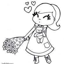 Desenho de uma menina com flores para colorir