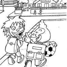 Desenho de dois amigos indo para a escola para colorir
