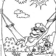 Desenho de um menino relaxando na rede para colorir