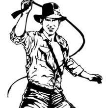 Desenho do Indiana Jones com seu chicote de couro para colorir