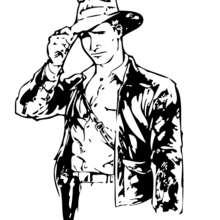 Desenho do Indiana Jones com seu chicote para colorir