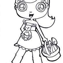 Desenho de uma menina com uma cesta de páscoa para colorir