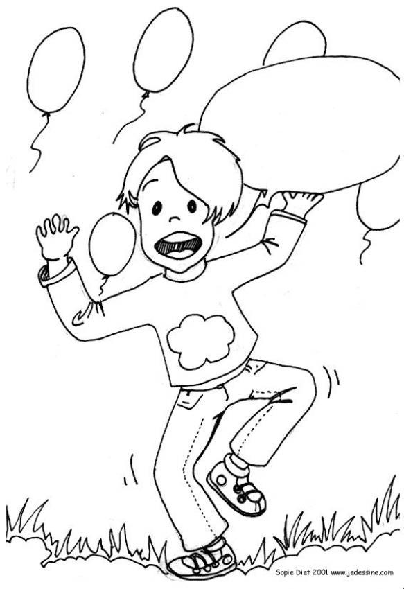 Desenhos Para Colorir De Desenho De Um Menino Com Baloes Para