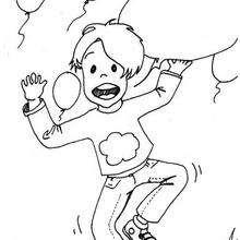 Desenho de um menino com balões para colorir