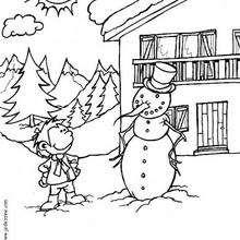 Desenho de uma criança orgulhosa do seu boneco de neve