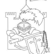 Desenho de um cavaleiro tomando conta do castelo para colorir