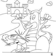 Desenho de um cavaleiro lutando com um Dragão para colorir