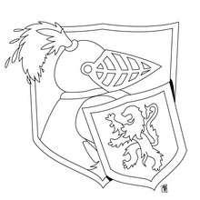 Desenho de um cavaleiro com seu escudo para colorir