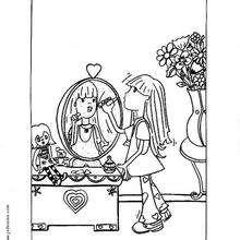 Desenho de uma menina passando batom para colorir