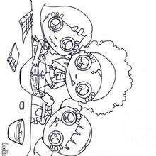 cozinhar, Desenho de pequenos chefes fazendo chantilly para colorir