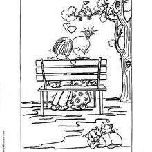 Desenho de dois amantes para colorir