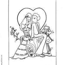 Desenho de um casamento para colorir