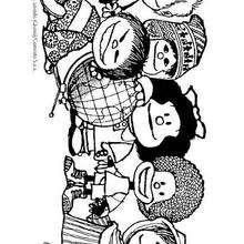 Desenho dos amigos da Mafalda para colorir