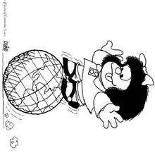Desenho da Mafalda brincando com o globo do mundo para colorir