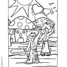Desenho de cogumelos no Dia dos Namorados para colorir