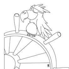 Desenho de um pirata com seu papagaio para colorir