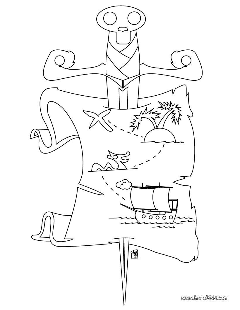 Desenho de um mapa do tesouro dos piratas para colorir