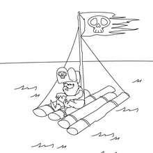 Desenho de um pirata na sua Balsa para colorir