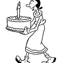 Desenho da Olivia Palito com um bolo de aniversário para colorir