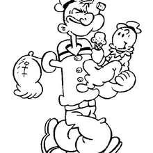 Desenho do Popeye com seu filho para colorir