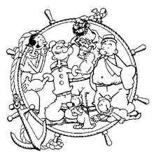 Desenho do marinheiro Popeye com seus amigos para colorir