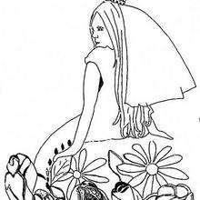 Desenho de uma Princesa com flores para colorir