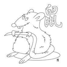 Desenho do ano do Rato para colorir