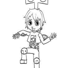 Desenho do Matias fantasiado de robô para colorir