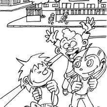 Desenho de crianças indo pra escola para colorir