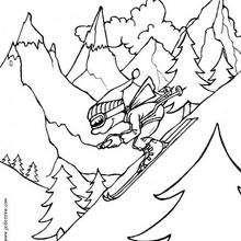 Desenho de um menino esquiando para colorir