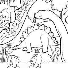 Desenho de um dinossauro e de um Estagossauro com crianças para colorir