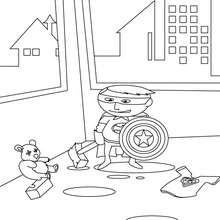 Desenho de um pequeno Super-herói  para colorir
