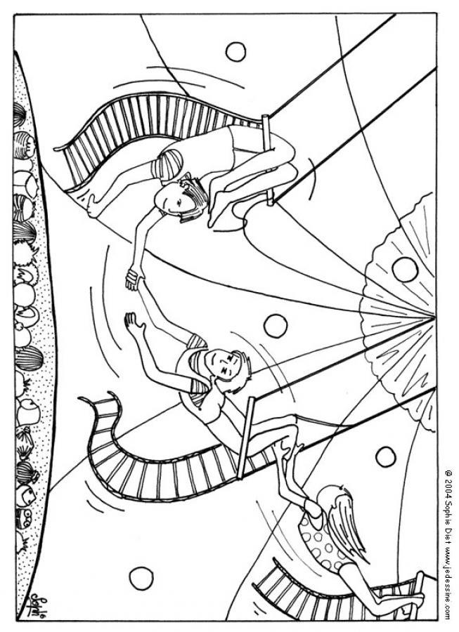 Desenhos Para Colorir De Desenho De Acrobatas No Trapezio Para