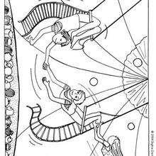 Desenho de acrobatas no Trapézio para colorir